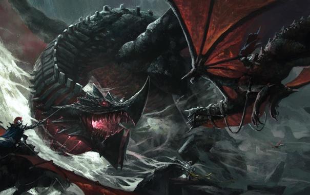 Фото обои драконы, бой, арт, маг, битва, схватка