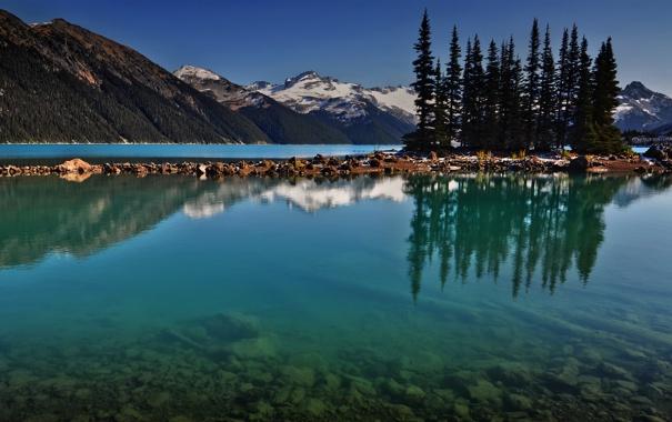 Фото обои лес, вода, деревья, пейзаж, горы, природа, озеро