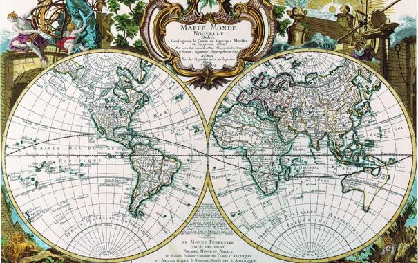 Фото обои карта, древность, полушария, 1744, mappe monde