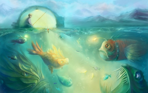 Фото обои море, рыбы, рыбалка, арт, удочка, чудовища
