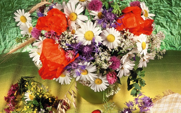 Фото обои фото, Цветы, Клубника, Ромашки, Маки, Букет, Васильки