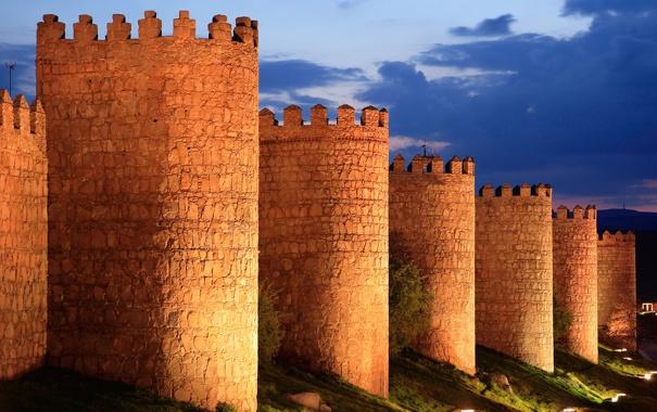 Фото обои небо, облака, свет, ночь, огни, башня, крепость