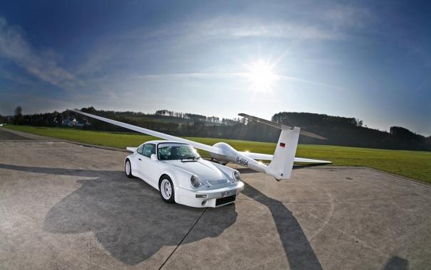 Фото обои машина, авто, солнце, обои, 911, Porsche, самолёт