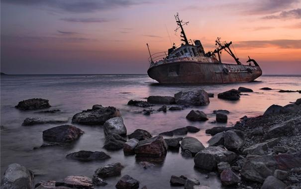 Фото обои закат, корабль, море