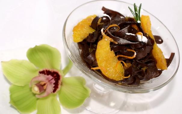 Фото обои цветок, апельсин, шоколад, сладости, flower, десерт, орхидея