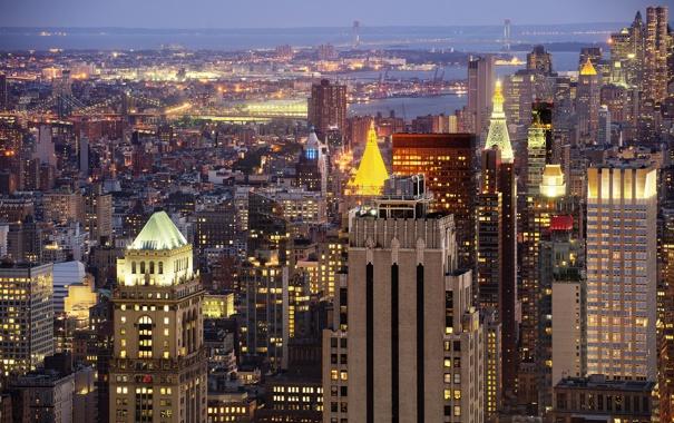 Фото обои мост, огни, небоскреб, дома, Нью-Йорк, вечер, панорама