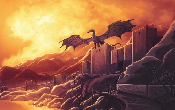 Фото обои деревья, закат, река, замок, дракон, рисунок, крылья