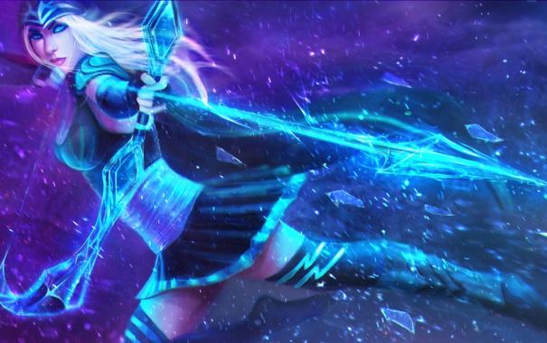 Фото обои League of Legends, Ashe, LoL, Riot Games, Frost Archer, Ледяная Лучница