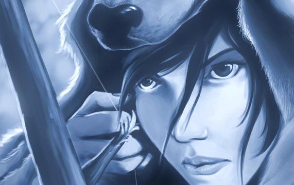 Фото обои глаза, взгляд, девушка, лицо, оружие, волосы, игра