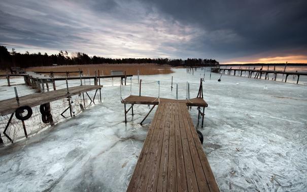 Фото обои пейзаж, закат, мост, озеро, лёд