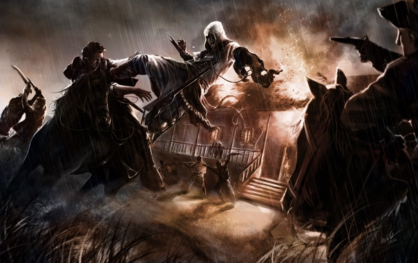 Фото обои люди, пожар, лошади, Assassins Creed, Cicatrizes da Liberdade 3