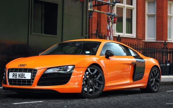 Фото обои Audi, Лондон, Ауди, Машина, Оранжевая, Desktop, Orange