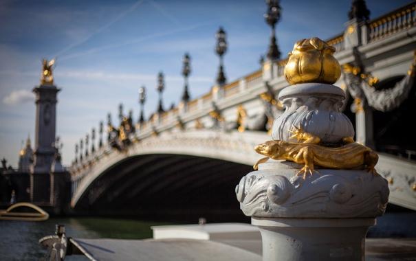 Фото обои фонари, ящерица, скульптуры, Paris, размытость, мост, Pont Alexandre III
