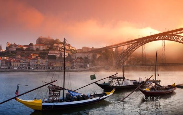 Фото обои пейзаж, мост, город, река, лодка, гондола, bing