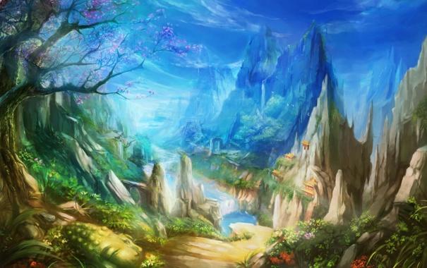 Фото обои горы, вишня, река, синева, скалы, азия, сакура