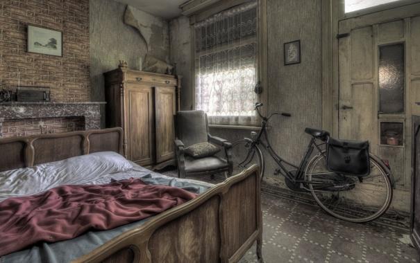 Фото обои кровать, велосипед, комната