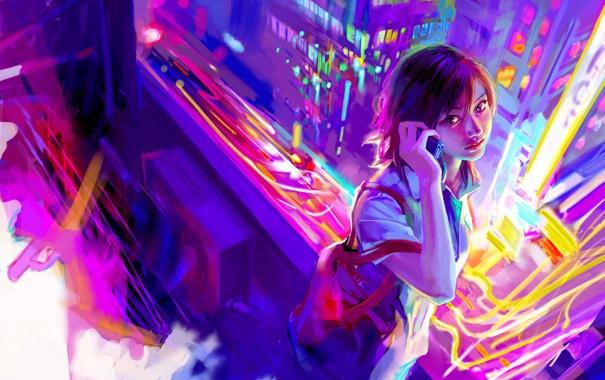 Фото обои город. огни, девушка, телефон, стиль