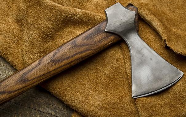 Фото обои axe, metal, wood, fabric