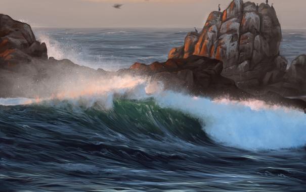 Фото обои море, птицы, природа, скалы, волна, арт