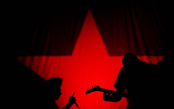 Фото обои красный, музыка, черный, звезда, рок