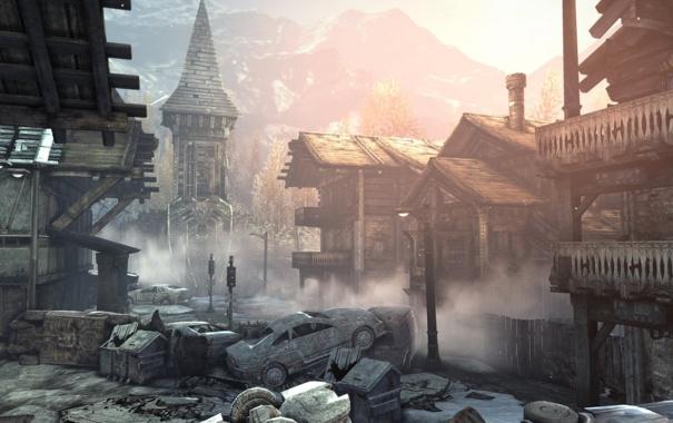 Фото обои горы, машины, город, дома, разруха, деревушка, gears of war 2
