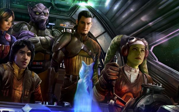 Фото обои космос, фантастика, команда, пилот, star wars, art, spaceship