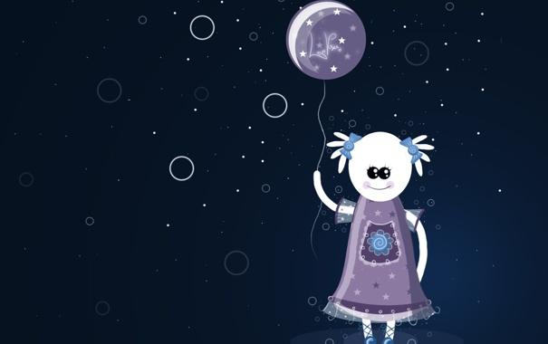 Фото обои фиолетовый, шар, неон, девочка