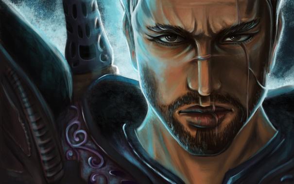 Фото обои лицо, меч, воин, арт, мужчина, рукоятка, шрамы