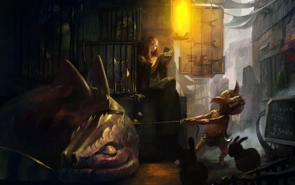 Фото обои девушка, дракон, арт, клетки, бес, продажа