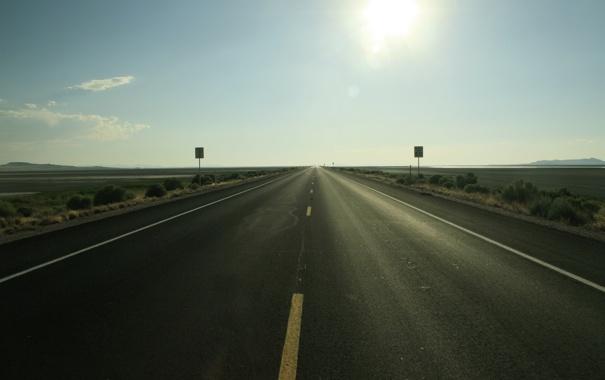 Фото обои дорога, горизонт, америка