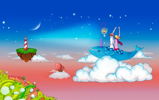 Фото обои небо, девушка, облака, любовь, романтика, рисунок, маяк
