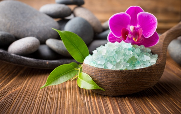 Фото обои камни, орхидея, спа, orchid, stones, соль, spa