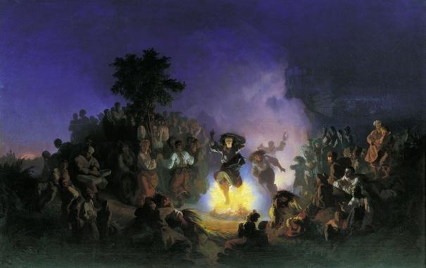 Фото обои девушка, огонь, праздник, картина, фольклор, Ночь на Ивана Купалу, Соколов Иван