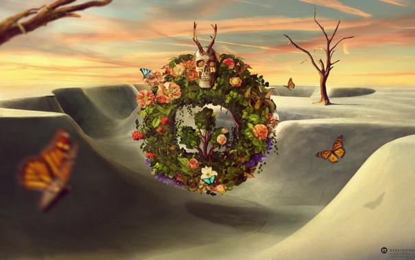 Фото обои desktopography, рога, череп, бабочки, венок, ягоды, цветы