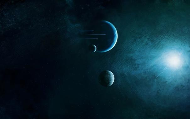Фото обои звезды, свет, планеты, спутники, звездолеты