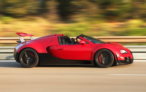 Фото обои Roadster, red, Bugatti Veyron, black, speed, Grand Sport, Vitesse