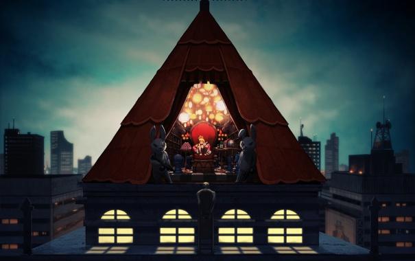 Фото обои крыша, город, дом, оружие, лампы, книги, арт