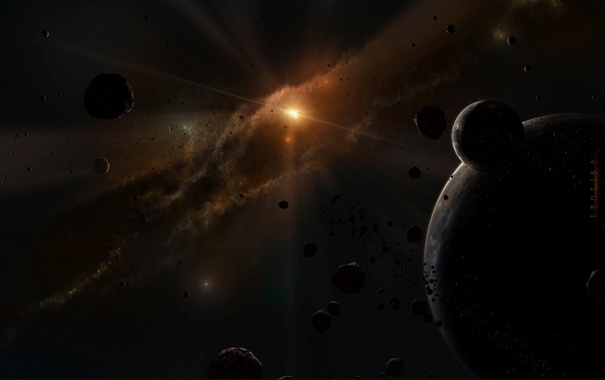 Фото обои астероиды, свет, планеты, далекая, звезда