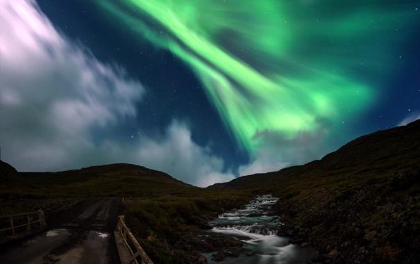 Фото обои пейзаж, ночь, мост, сияние, река
