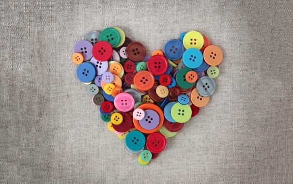 Фото обои сердце, сердечки, ткань, пуговицы, серая