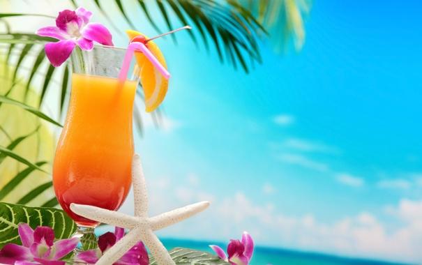 Фото обои море, пляж, пальмы, коктейль, summer, beach, sea