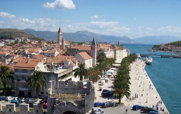 Фото обои море, набережная, Хорватия, старый город, Адриатика, Трогир