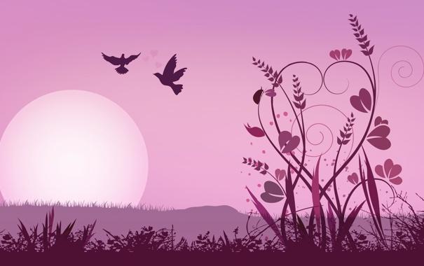 Фото обои солнце, цветы, птицы