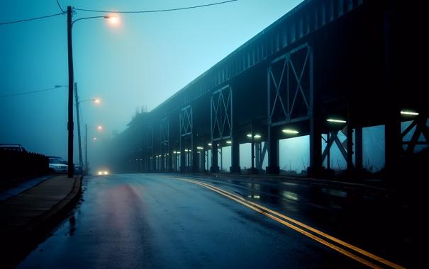 Фото обои По эстакаде, Along the Viaduct, пасмурно, дорога