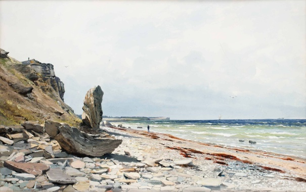 Фото обои пейзаж, скалы, акварель, Anna Palm de Rosa, море, люди, валуны