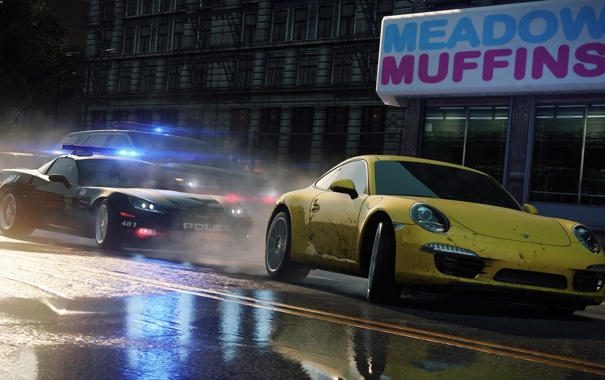 Фото обои желтый, город, трасса, полиция, лужи, Need for Speed, Electronic Arts
