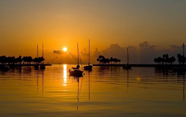 Фото обои закат, яхты, вечер