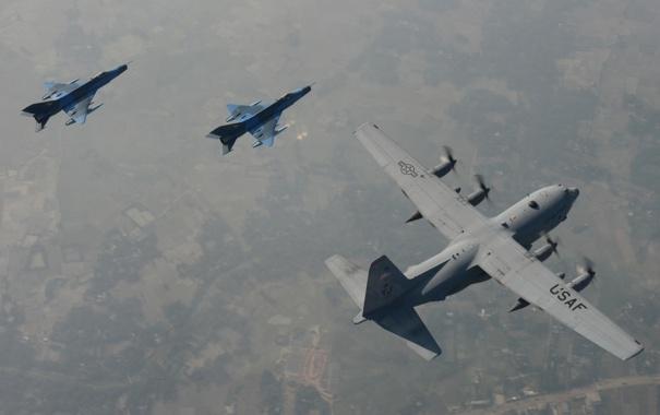 Фото обои полет, авиация, C-130H Hercules, F-7BG