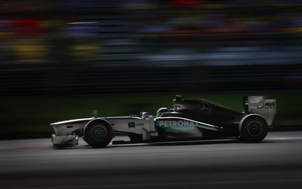 Фото обои ночь, гонка, формула 1, mercedes, болид, formula one, Singapore Grand Prix