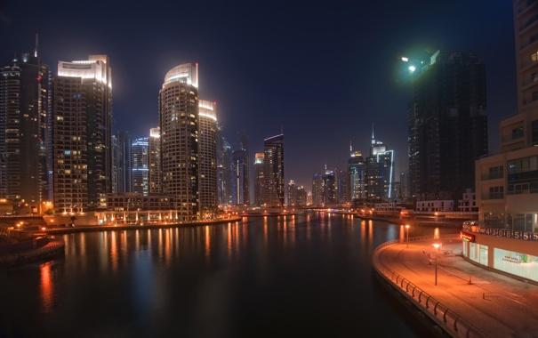 Фото обои вода, ночь, город, огни, небоскребы, Дубаи